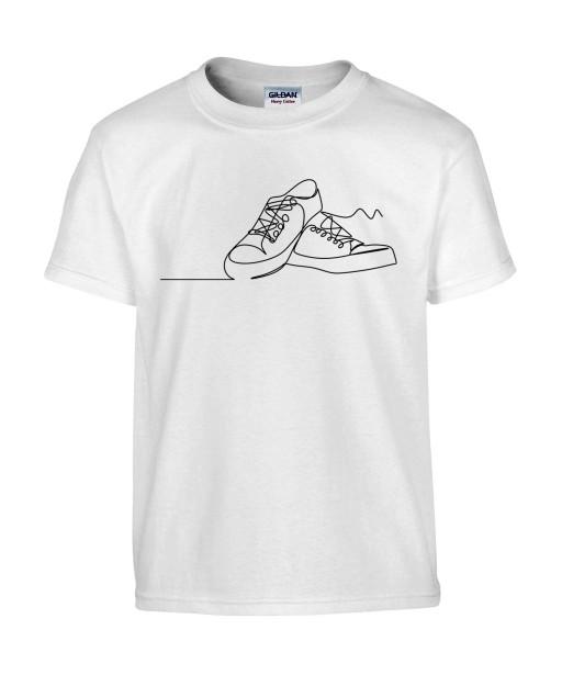 T-shirt Homme Ligne Baskets [Graphique, Design, Trait, Chaussures] T-shirt Manches Courtes, Col Rond