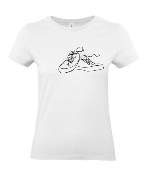 T-shirt Femme Ligne Baskets [Graphique, Design, Trait, Chaussures] T-shirt Manches Courtes, Col Rond