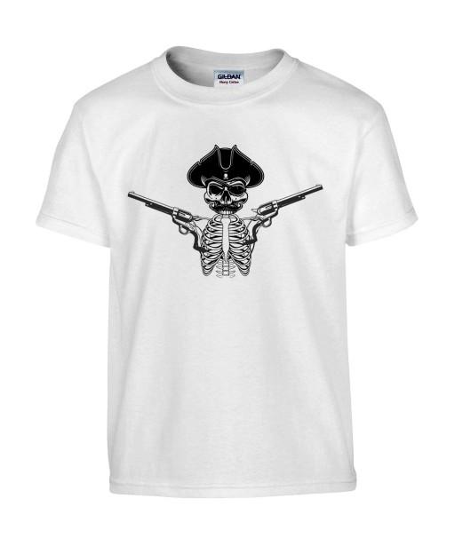 T-shirt Homme Tête de Mort Pirate [Skull Gun, Pistolet] T-shirt Manches Courtes, Col Rond