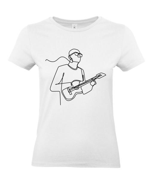 T-shirt Femme Ligne Guitariste [Graphique, Design, Trait, Musique, Guitare] T-shirt Manches Courtes, Col Rond