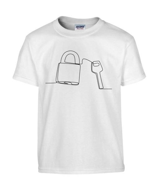 T-shirt Homme Ligne Cadenas [Graphique, Design, Trait, Mariage, Amour, Romantique, Love] T-shirt Manches Courtes, Col Rond