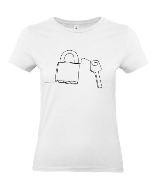 T-shirt Femme Ligne Cadenas [Graphique, Design, Trait, Mariage, Amour, Romantique, Love] T-shirt Manches Courtes, Col Rond