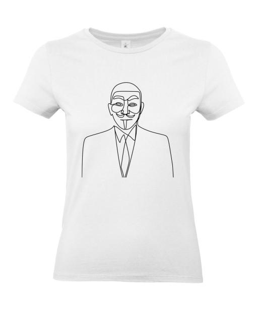 T-shirt Femme Ligne Anonymous [Graphique, Design, Trait, Geek, Hacker] T-shirt Manches Courtes, Col Rond