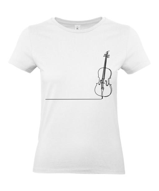 T-shirt Femme Ligne Violoncelle [Graphique, Design, Trait, Musique, Classique] T-shirt Manches Courtes, Col Rond