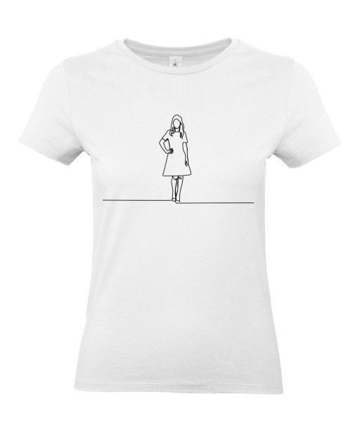 T-shirt Femme Ligne Femme Mannequin [Graphique, Design, Trait, Mariage, EVJF] T-shirt Manches Courtes, Col Rond