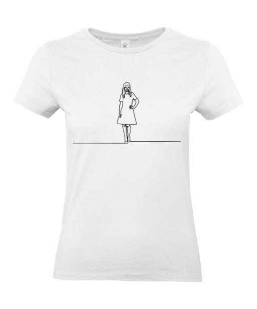 T-shirt Femme Ligne Femme Défilé [Graphique, Design, Trait, Mariage, EVJF] T-shirt Manches Courtes, Col Rond