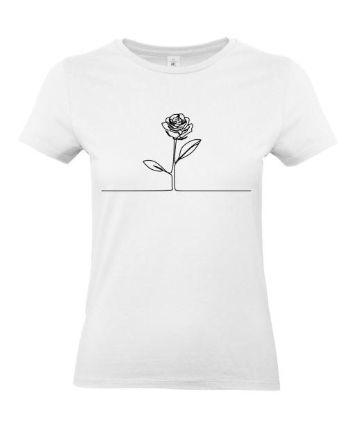 T-shirt Femme Ligne Rose [Graphique, Trait, Mariage, Romantique, Love, Fleur, Nature] T-shirt Manches Courtes, Col Rond