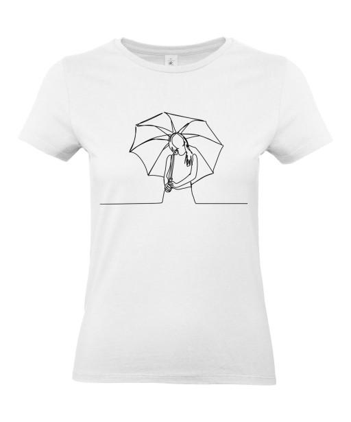 T-shirt Femme Ligne Parapluie [Graphique, Design, Trait] T-shirt Manches Courtes, Col Rond