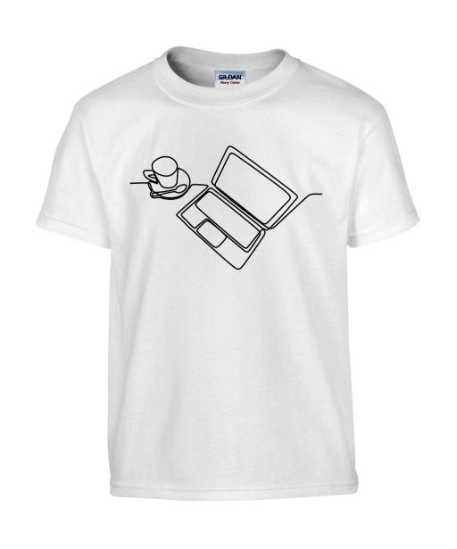 T-shirt Homme Ligne Ordinateur [Graphique, Design, Trait, Bureau, Travail, Café] T-shirt Manches Courtes, Col Rond