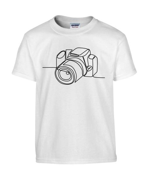 T-shirt Homme Ligne Appareil Photo [Graphique, Design, Trait, Photographe] T-shirt Manches Courtes, Col Rond