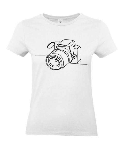 T-shirt Femme Ligne Appareil Photo [Graphique, Design, Trait, Photographe] T-shirt Manches Courtes, Col Rond