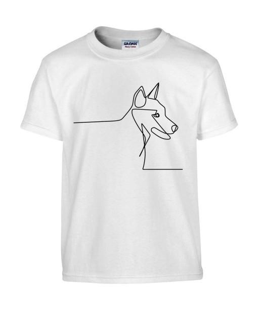 T-shirt Homme Ligne Chien [Graphique, Design, Ligne, Trait, Animaux] T-shirt Manches Courtes, Col Rond