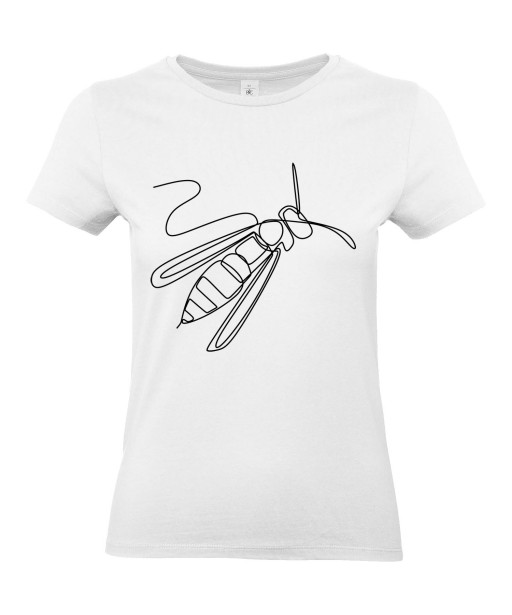 T-shirt Femme Ligne Guêpe [Graphique, Design, Ligne, Trait, Animaux] T-shirt Manches Courtes, Col Rond
