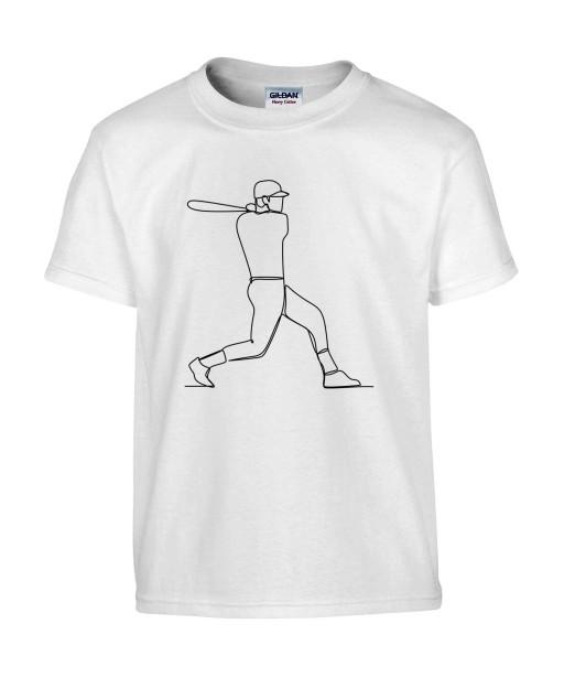 T-shirt Homme Ligne Baseball [Graphique, Design, Trait, Sport, Batte] T-shirt Manches Courtes, Col Rond