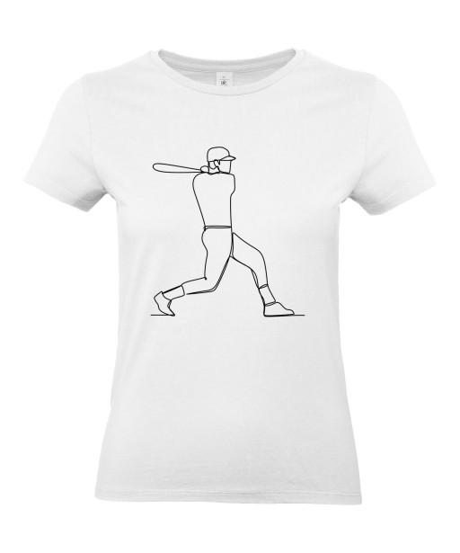 T-shirt Femme Ligne Baseball [Graphique, Design, Trait, Sport, Batte] T-shirt Manches Courtes, Col Rond