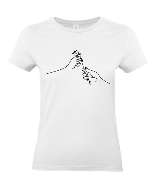 T-shirt Femme Ligne Offrir Une Rose [Graphique, Design, Trait, Romantique, Love, Fleur, Nature] T-shirt Manches Courtes, Col Rond