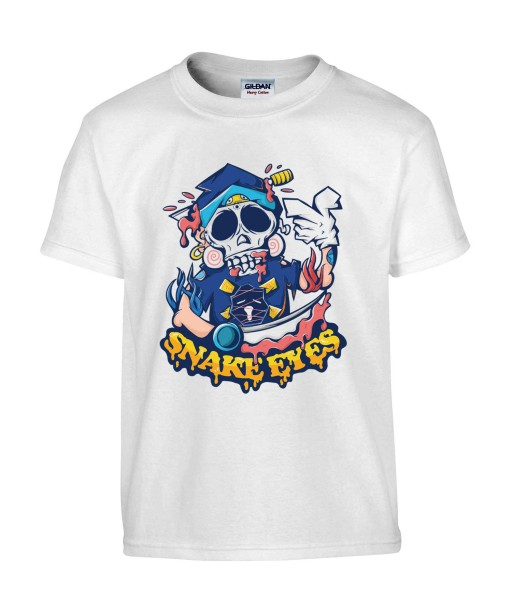 T-shirt Homme Tête de Mort Snake Eyes [Fun, Humour Noir, Trash, Swag] T-shirt Manches Courtes, Col Rond