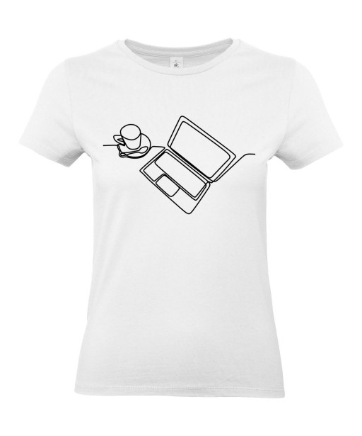 T-shirt Femme Ligne Ordinateur [Graphique, Design, Trait, Bureau, Travail, Café] T-shirt Manches Courtes, Col Rond