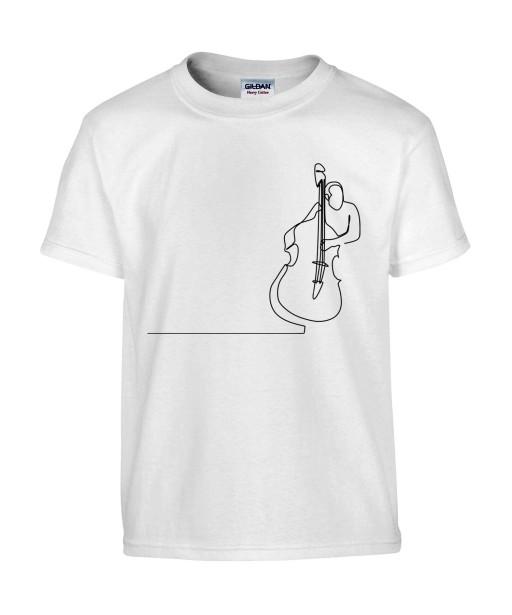 T-shirt Homme Ligne Contrebasse [Graphique, Design, Trait, Musique, Jazz] T-shirt Manches Courtes, Col Rond
