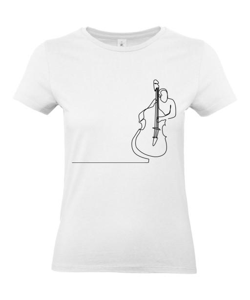 T-shirt Femme Ligne Contrebasse [Graphique, Design, Trait, Musique, Jazz] T-shirt Manches Courtes, Col Rond