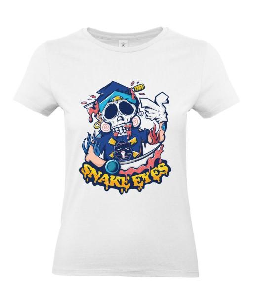 T-shirt Femme Tête de Mort Snake Eyes [Fun, Humour Noir, Trash, Swag] T-shirt Manches Courtes, Col Rond