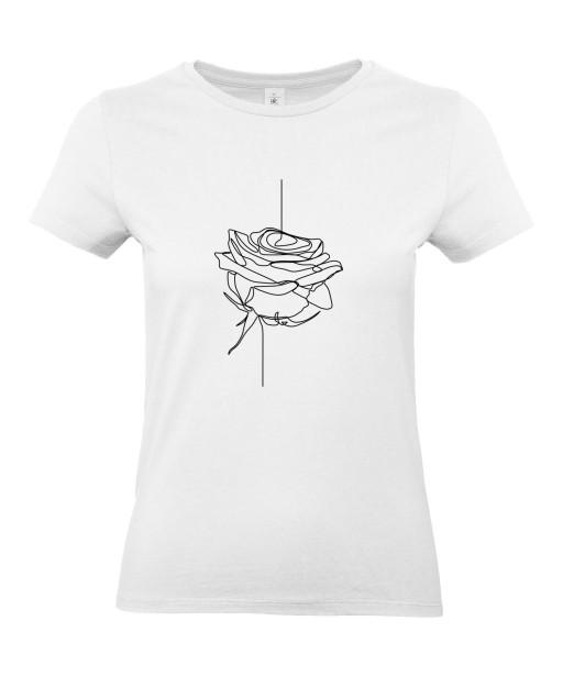 T-shirt Femme Ligne Bouton de Rose [Graphique, Design, Trait, Romantique, Amour, Love, Fleur, Nature] T-shirt Manches Courtes, Col Rond