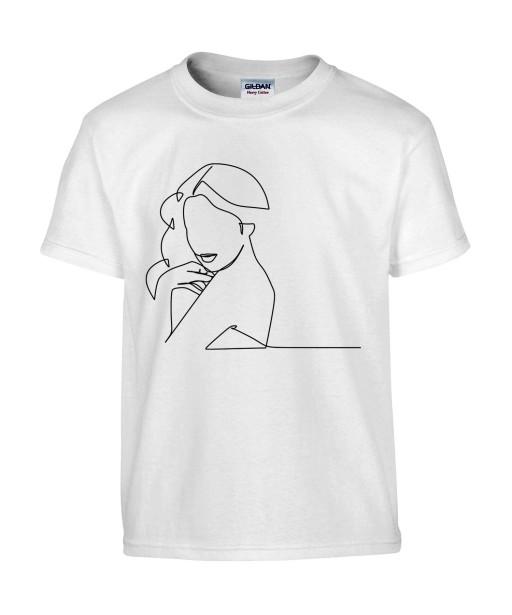 T-shirt Homme Ligne Femme Sexy [Graphique, Design, Trait, Glamour] T-shirt Manches Courtes, Col Rond