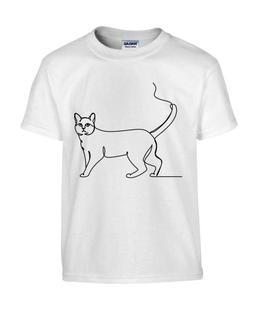 T-shirt Homme Ligne Chat [Graphique, Design, Trait, Animaux] T-shirt Manches Courtes, Col Rond