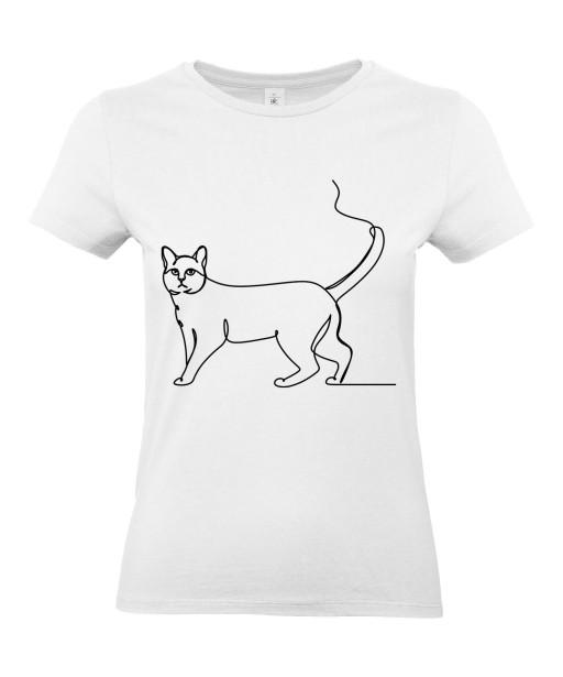 T-shirt Femme Ligne Chat [Graphique, Design, Trait, Animaux] T-shirt Manches Courtes, Col Rond