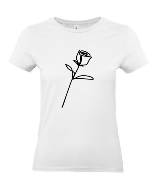 T-shirt Femme Ligne Rose Tige [Graphique, Trait, Mariage, Romantique, Love, Fleur, Nature] T-shirt Manches Courtes, Col Rond