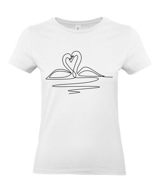 T-shirt Femme Ligne Cygne Coeur [Graphique, Design, Trait, Oiseau, Nature] T-shirt Manches Courtes, Col Rond