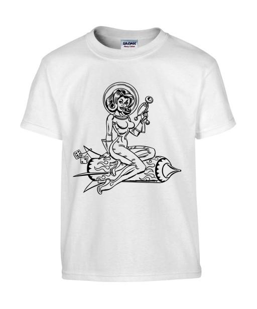 T-shirt Homme Pin-Up Fusée [Rétro, Science-Fiction, Espace, Vintage, Sexy] T-shirt Manches Courtes, Col Rond