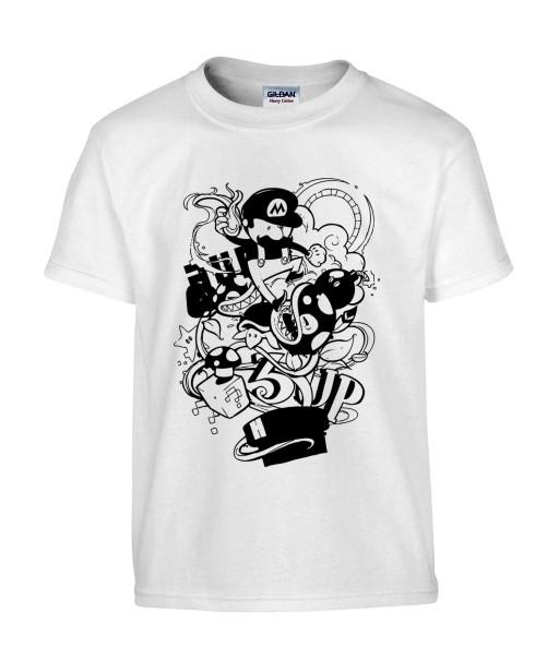 T-shirt Homme Geek Mario Bros [Jeux Vidéos, Gamer, Parodie, Nintendo, Level Up] T-shirt Manches Courtes, Col Rond