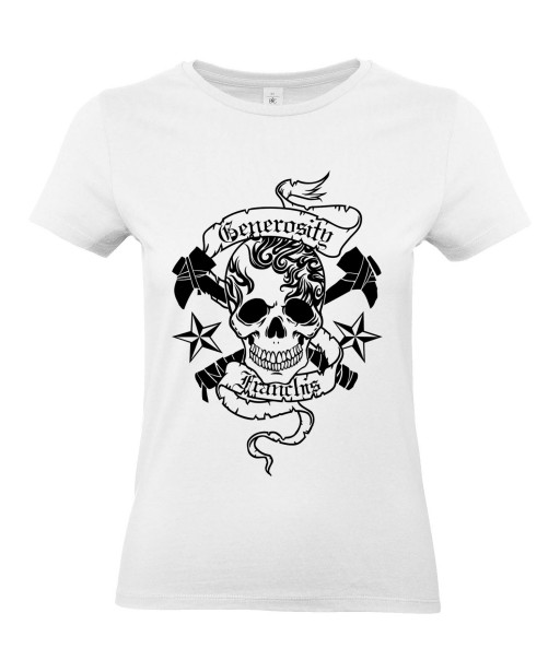 T-shirt Femme Tête de Mort Tattoo [Skull, Gothique, Tatouage] T-shirt Manches Courtes, Col Rond