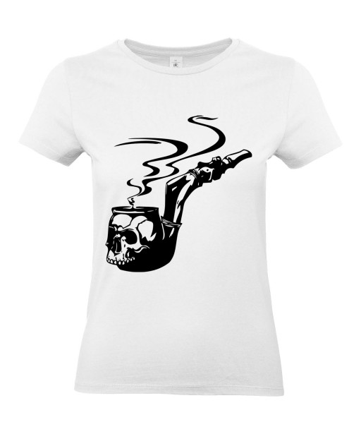 T-shirt Femme Tattoo Pipe Tête de Mort [Skull, Tatouage, Fumée, Tabac] T-shirt Manches Courtes, Col Rond