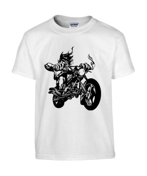 T-shirt Homme Tattoo Motard [Tête de Mort, Skull, Tatouage Moto, Biker] T-shirt Manches Courtes, Col Rond