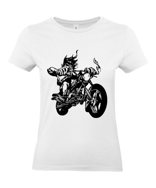 T-shirt Femme Tattoo Motard [Tête de Mort, Skull, Tatouage Moto, Biker] T-shirt Manches Courtes, Col Rond