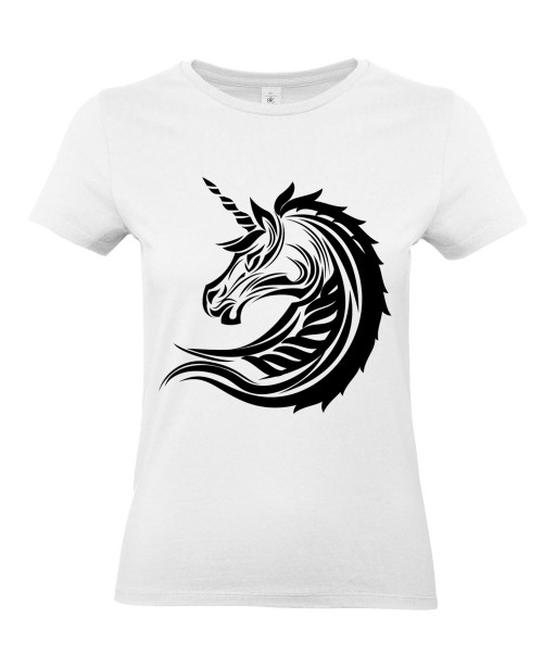 T-shirt Femme Tattoo Tribal Licorne [Tatouage, Animaux, Unicorn] T-shirt Manches Courtes, Col Rond
