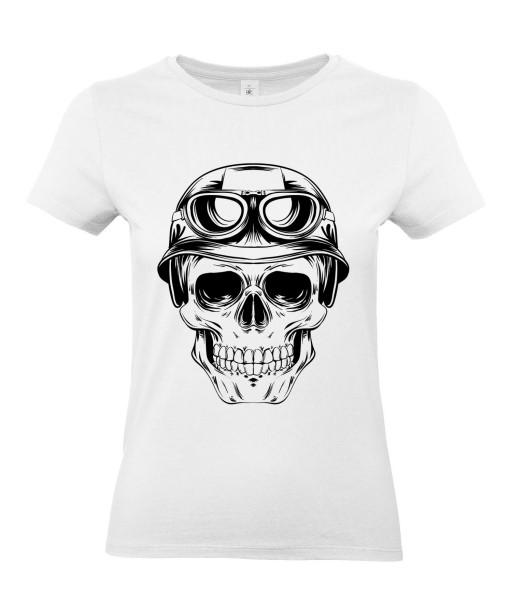 T-shirt Femme Tête de Mort Army [Skull, Aviateur, Moto, Motard, Biker, Armée] T-shirt Manches Courtes, Col Rond