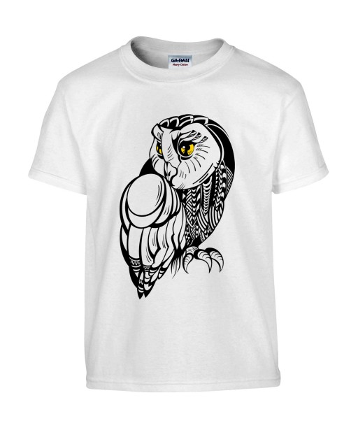 T-shirt Homme Tattoo Chouette [Tatouage, Hibou, Oiseau, Animaux, Nature] T-shirt Manches Courtes, Col Rond