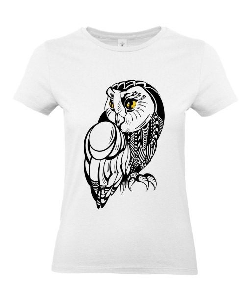 T-shirt Femme Tattoo Chouette [Tatouage, Hibou, Oiseau, Animaux, Nature] T-shirt Manches Courtes, Col Rond