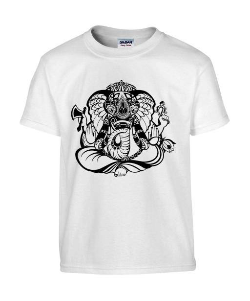 T-shirt Homme Tattoo Ganesh [Tatouage, Religion, Yoga, Spirituel, Élephant, Dieu] T-shirt Manches Courtes, Col Rond