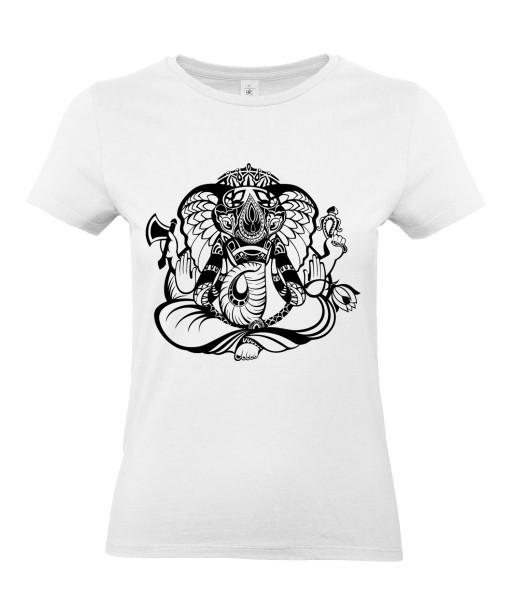 T-shirt Femme Tattoo Ganesh [Tatouage, Religion, Yoga, Spirituel, Élephant, Dieu] T-shirt Manches Courtes, Col Rond