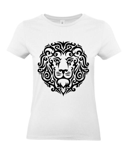 T-shirt Femme Tattoo Tribal Lion Design [Tatouage Animaux, Graphique, Zodiac] T-shirt Manches Courtes, Col Rond