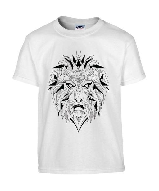 T-shirt Homme Tattoo Géométrique Lion [Tatouage, Animaux, Design, Graphique, Zodiac] T-shirt Manches Courtes, Col Rond