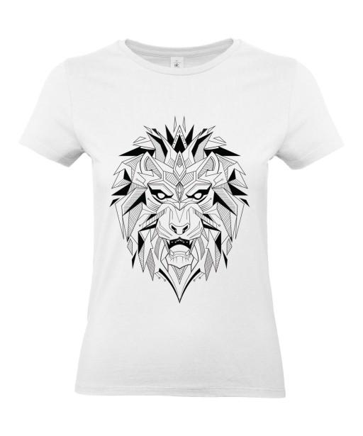 T-shirt Femme Tattoo Géométrique Lion [Tatouage, Animaux, Design, Graphique, Zodiac] T-shirt Manches Courtes, Col Rond