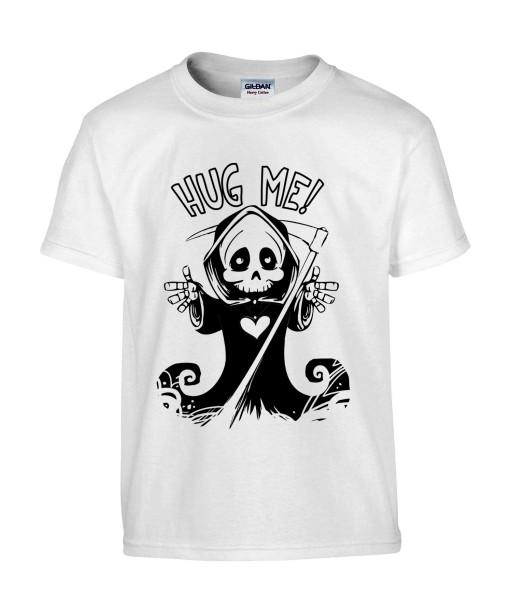 T-shirt Homme Tête de Mort Hug Me [Skull, Gothique, Faucheuse, Câlin, Cute, Mignon] T-shirt Manches Courtes, Col Rond