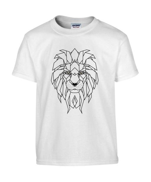 T-shirt Homme Tattoo Géométrie Lion [Tatouage, Animaux, Graphique, Design Géométrique, Zodiac] T-shirt Manches Courtes, Col Rond
