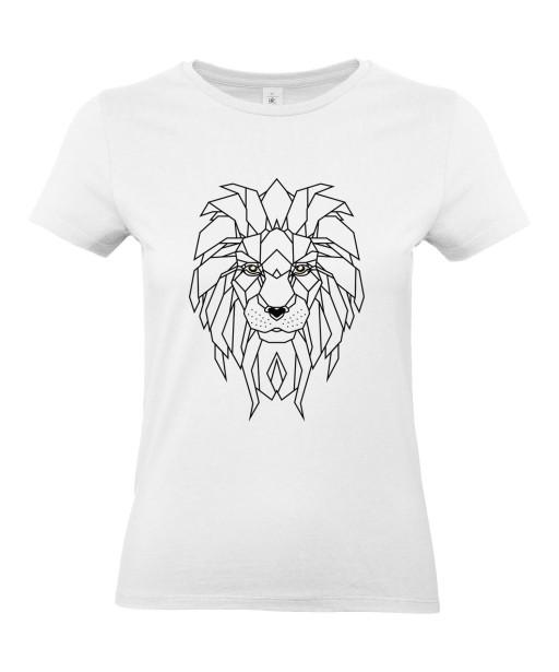 T-shirt Femme Tattoo Géométrie Lion [Tatouage, Animaux, Graphique, Design Géométrique, Zodiac] T-shirt Manches Courtes, Col Rond