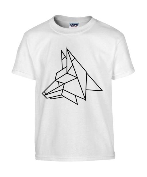 T-shirt Homme Tattoo Géométrique Loup [Tatouage, Design, Graphique, Animaux] T-shirt Manches Courtes, Col Rond